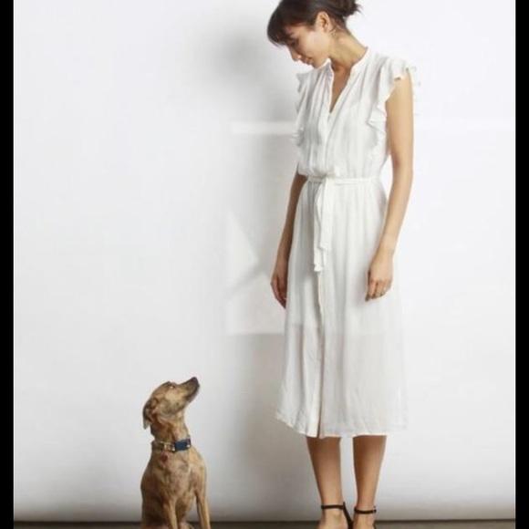 Mod Ref Dresses & Skirts - Mod Ref White Flutter Sleeve Button Gerry Dress M